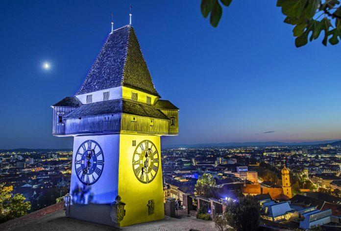 Uhrturm Graz in Europa Beleuchtung